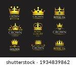 luxury crown glod icon set.... | Shutterstock .eps vector #1934839862