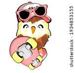 Pink Skateboard And Owl Girl