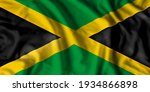 Jamaica flag realistic waving for design on independence day or other state holiday. 3D Illustration