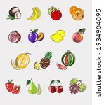 vegan icon set with fruits and... | Shutterstock .eps vector #1934904095