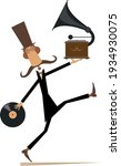 funny man with vintage record... | Shutterstock .eps vector #1934930075