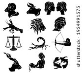 zodiac signs  set of twelve... | Shutterstock .eps vector #1934991575