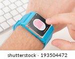 man is scanning fingerprint for ... | Shutterstock . vector #193504472