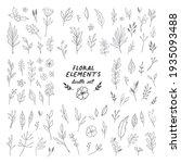 floral doodle design elements.... | Shutterstock .eps vector #1935093488