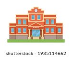 school with a green lawn. icon. ...   Shutterstock .eps vector #1935114662