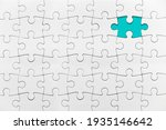 Small photo of White jigsaw puzzle pattern missing piece White jigsaw puzzle pattern isolated front image top view to express alliance union team working solution success problem