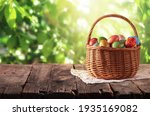 Wicker Basket With Easter...