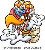 aztec god ehecatl head cartoon... | Shutterstock .eps vector #1935202595