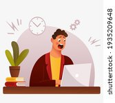 flat stressful busy young man...   Shutterstock .eps vector #1935209648