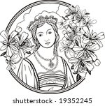 beautiful woman portrait with... | Shutterstock .eps vector #19352245