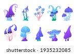 cosmic cartoon mushrooms  alien ... | Shutterstock .eps vector #1935232085