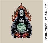grim reaper tattoo vector design | Shutterstock .eps vector #1935330775