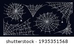 spider web set isolated on dark ... | Shutterstock .eps vector #1935351568