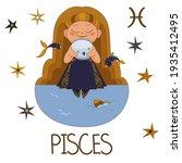 cute vector girl  pisces with   ... | Shutterstock .eps vector #1935412495