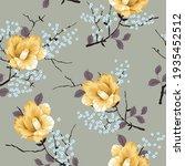 yellow vector flowers with grey ... | Shutterstock .eps vector #1935452512