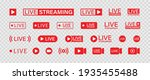 live streaming set red icons.... | Shutterstock .eps vector #1935455488