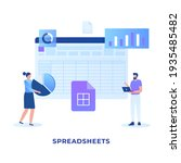 flat illustration spreadsheets...