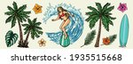 surfing vintage colorful... | Shutterstock .eps vector #1935515668