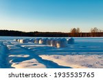 A Winter Country Landscape With ...