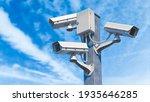 Cctv Street Cameras On Pole. 3d ...