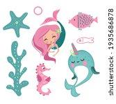 the little mermaid  narwhal ... | Shutterstock .eps vector #1935686878