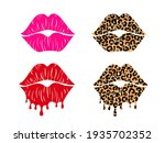 Set Of Kissing Lips With...