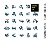 distracted driving icons  ... | Shutterstock .eps vector #1935708118