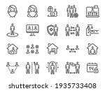 social distance icons. self... | Shutterstock . vector #1935733408