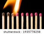 Line Of Matches Igniting One By ...