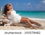 free happy woman in white... | Shutterstock . vector #193578482