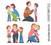 happy parents hugging and... | Shutterstock .eps vector #1935789712