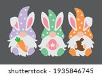 three happy easter gnomes with... | Shutterstock .eps vector #1935846745