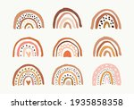 hand drawn boho rainbows. cute... | Shutterstock .eps vector #1935858358