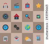mobile icons flat set of...