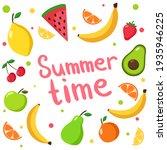 vector set with fruits. summer... | Shutterstock .eps vector #1935946225