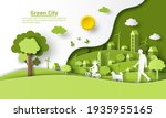 a father walking a dog with his ... | Shutterstock .eps vector #1935955165