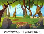 cartoon landscape with forest...