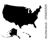 map of usa in black color.... | Shutterstock .eps vector #193603505