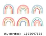 hand drawn pastel color rainbow ... | Shutterstock .eps vector #1936047898