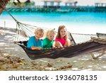 Kids Relax In Hammock. Children ...