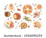 top view of breakfast food and... | Shutterstock .eps vector #1936090255