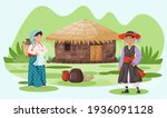 house in village with roof made ... | Shutterstock .eps vector #1936091128