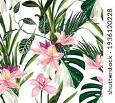 Exotic Flowers Pattern. Pink...