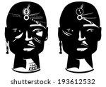 Masai warrior face vector design - en face african man head with traditional ornamentation