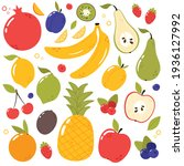 fresh  tasty fruits set.... | Shutterstock .eps vector #1936127992