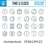 time and clock thin line icons. ...