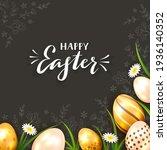 golden easter eggs on black... | Shutterstock .eps vector #1936140352