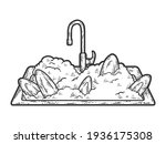 dirty dishes in the sink and... | Shutterstock .eps vector #1936175308