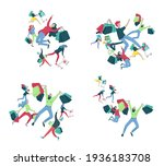 collection of people carrying... | Shutterstock .eps vector #1936183708
