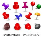 red thumbtack. office supplies... | Shutterstock . vector #1936198372